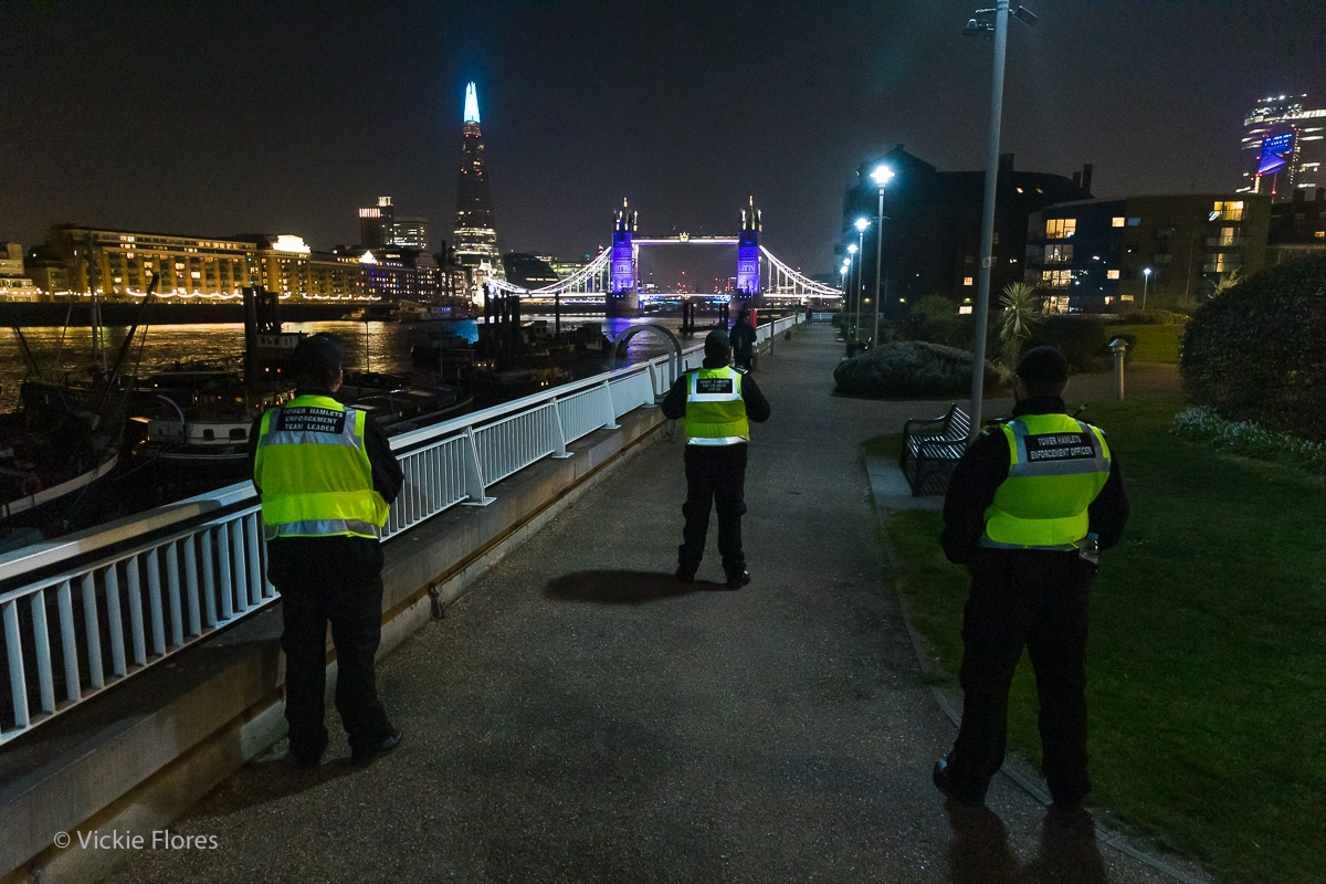 Tower Hamlets Enforcement Officers pause to pay their respects at Hermitage Moorings