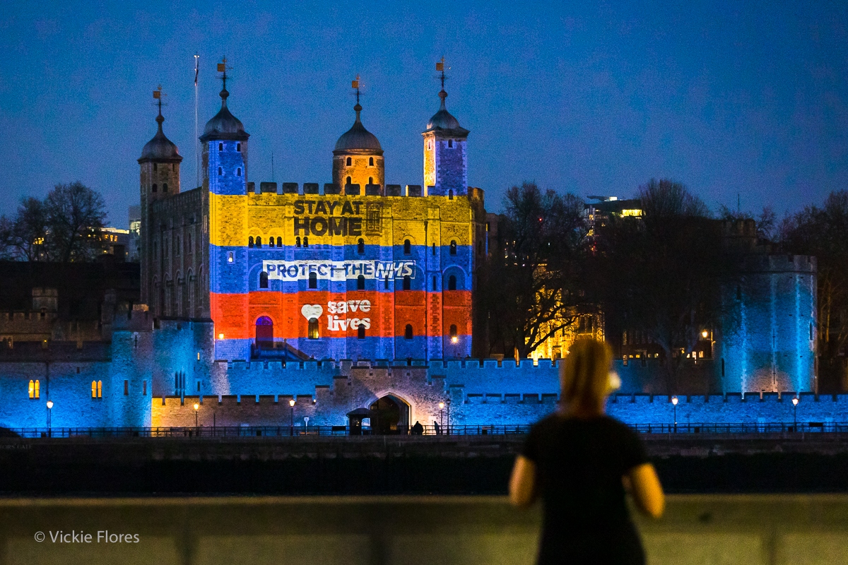 Stay at Home, Protect the NHS, Save Lives projection onto the Tower of London