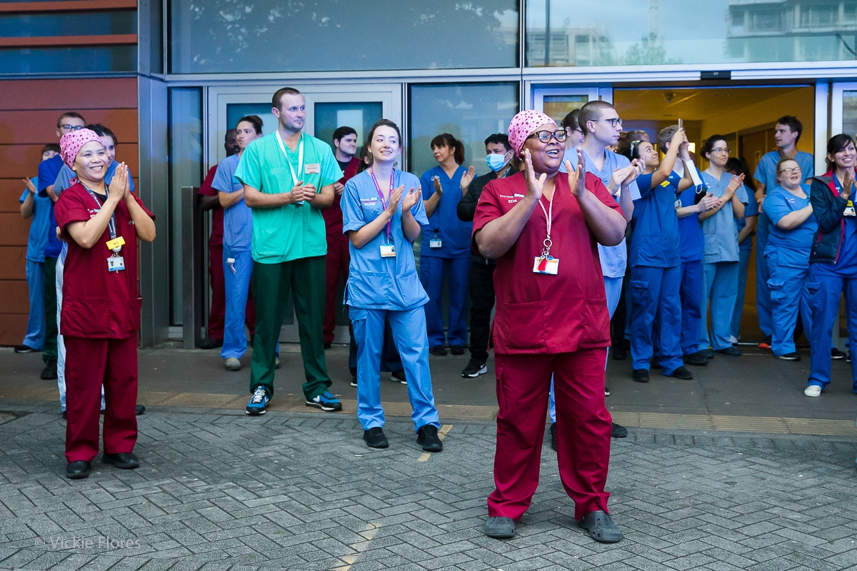Medical staff clapping outside the Royal London Hospital