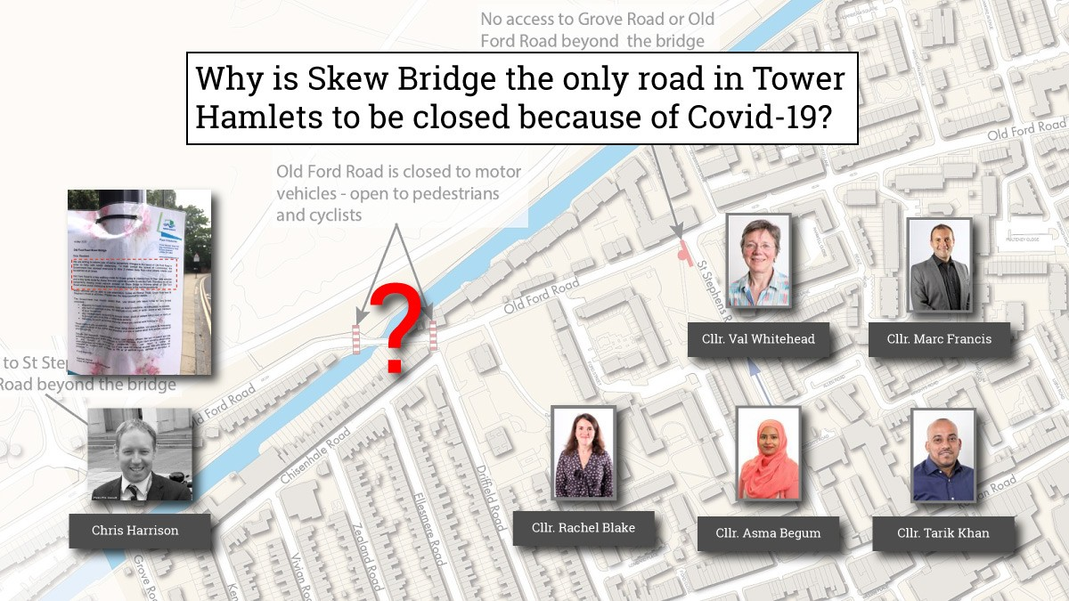 Sketch plan of Skew Bridge area of Tower Hamlets and photos of local councillors who live in the area.