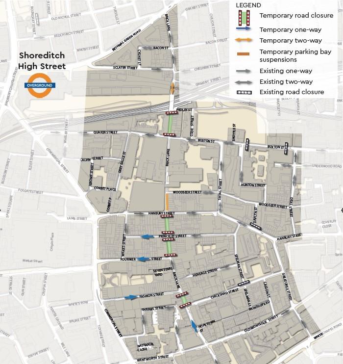 LBTH map of road closures in Brick Lane