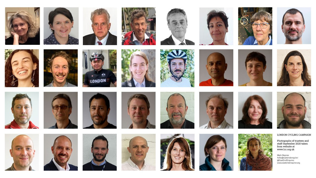Photographs of London Cycling Campaign staff and trustees.